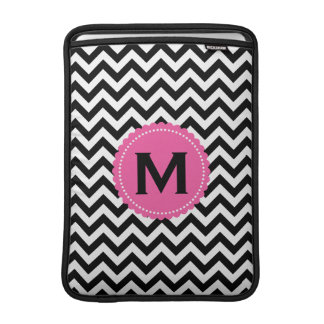 Black White Monogram Chevron Pattern MacBook Air Sleeve