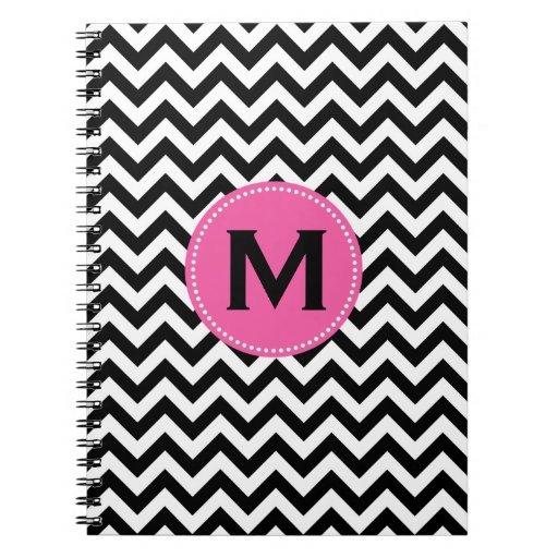 Black White Monogram Chevron Pattern Notebook