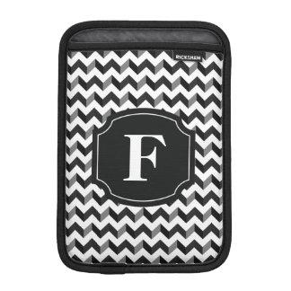 Black White Monogram Chevron Pattern Sleeve For iPad Mini