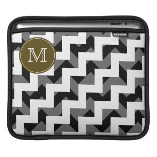 black white monogram chevron pattern sleeve for iPads