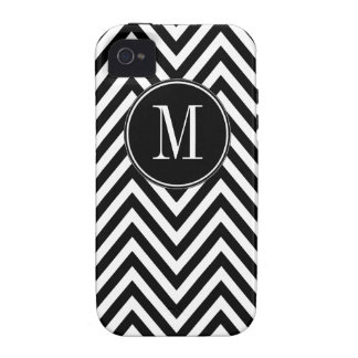 Black White Monogram Chevron Zig Zag Pattern Vibe iPhone 4 Cases