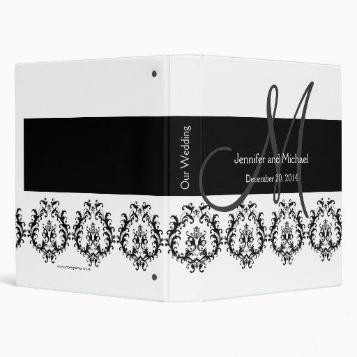 Black White Monogram Damask Wedding Planner 3 Ring Binder