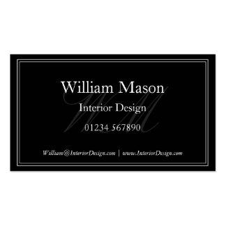 Black & White Monogram Framed Business Card
