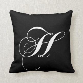 Black White Monogram H Designer Monogrammed Pillow