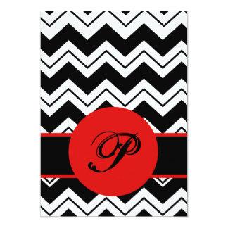 Black White Monogram Initial Chevron ZizZag White 5x7 Paper Invitation Card