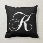 Black White Monogram K Designer Monogrammed Pillow