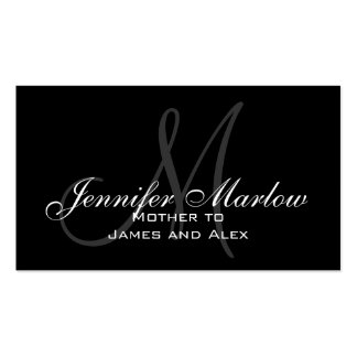 Black White Monogram Mommy Calling Card Double-Sided Standard Business Cards (Pack Of 100)