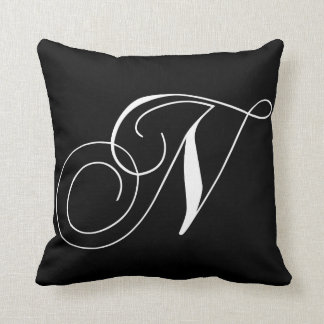 Black White Monogram N Designer Monogrammed Pillow