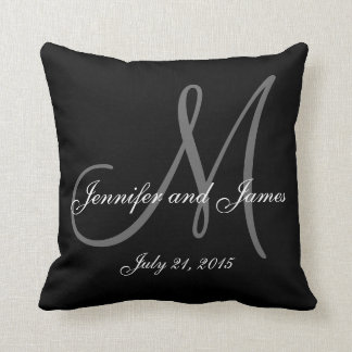 Black White Monogram Names Wedding Keepsake Pillow