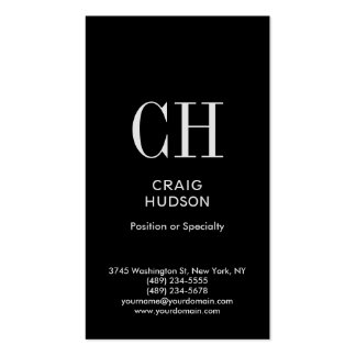 Black White Monogram Professional Business Card