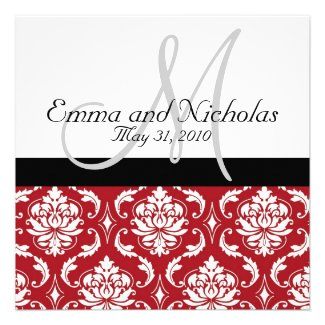 Black White Monogram Red Damask Wedding Invite
