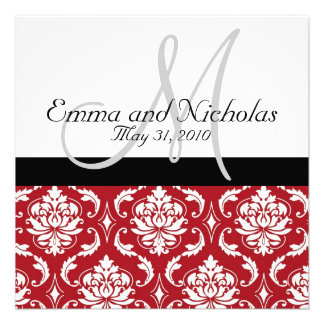 Black White Monogram Red Damask Wedding Invite