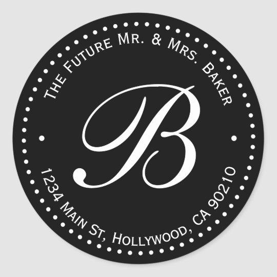 Black & White Monogram Round Return Address Label