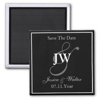 Black & White Monogram Save The Date Magnet