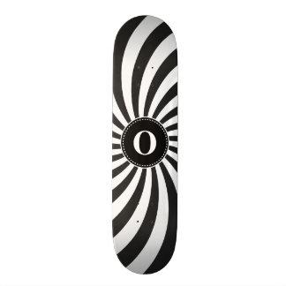 Black White Monogram Spiral Pattern Skate Board