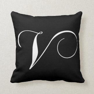 Black White Monogram V Pillow