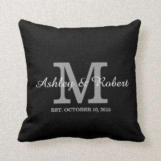 Black White Monogram Wedding Keepsake Names Date Throw Pillow