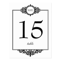 Black White Monogram Wedding Table Number Card at Zazzle