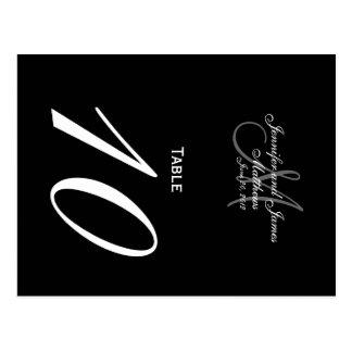 Black White Monogram Wedding Table Number Cards