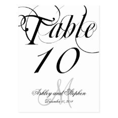 Black White Monogram Wedding Table Number Cards at Zazzle