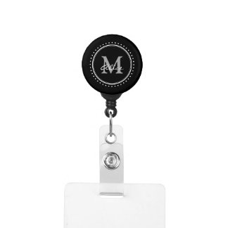 Black White Monogrammed Badge Holder