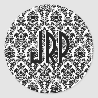 Black & White Monogrammed Damask Round Stickers