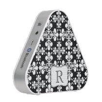 Black white monogrammed Fleur de lis pattern Speaker