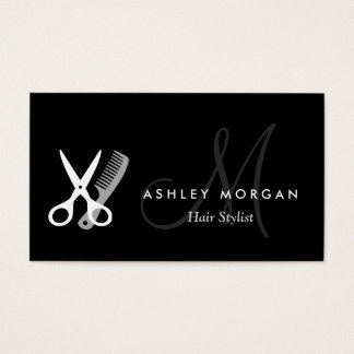 Black White Monogrammed - Hair Salon Hairstylist Business Card