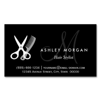Black White Monogrammed - Hair Salon Hairstylist Magnetic Business Card
