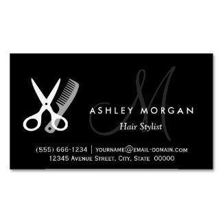 Black White Monogrammed - Hair Salon Hairstylist Magnetic Business Cards (Pack Of 25)