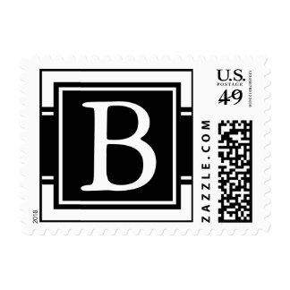 Black & White Monogrammed Postage Stamp Postage