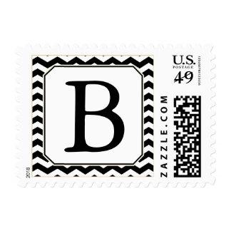 Black & White Monogrammed Stamp w/ Modern Chevrons