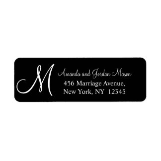 Black White Monogrammed Wedding Address Label