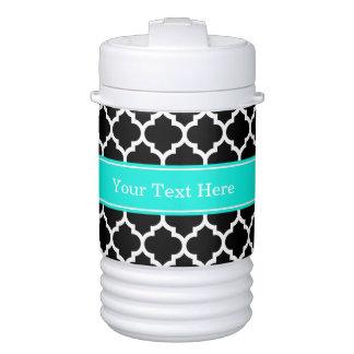 Black White Moroccan #5 Brt Aqua Name Monogram Beverage Cooler