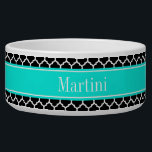 """Black White Moroccan #5 Brt Aqua Name Monogram Bowl<br><div class=""""desc"""">Black and White Moroccan Quatrefoil Trellis Pattern #5, Bright Aqua Ribbon Name Monogram Label Customize this with your name, monogram or other text. You can also change the font, adjust the font size and font color, move the text, add additional text fields, etc Please note that this is a digitally...</div>"""