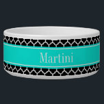 "Black White Moroccan #5 Brt Aqua Name Monogram Bowl<br><div class=""desc"">Black and White Moroccan Quatrefoil Trellis Pattern #5, Bright Aqua Ribbon Name Monogram Label Customize this with your name, monogram or other text. You can also change the font, adjust the font size and font color, move the text, add additional text fields, etc Please note that this is a digitally...</div>"