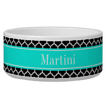 Black White Moroccan #5 Brt Aqua Name Monogram Bowl