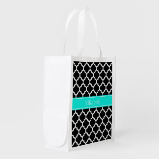 Black White Moroccan #5 Brt Aqua Name Monogram Reusable Grocery Bag