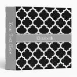 Black White Moroccan #5 Dark Gray Name Monogram Binders