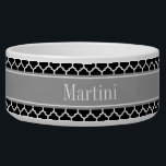 """Black White Moroccan #5 Dark Gray Name Monogram Bowl<br><div class=""""desc"""">Black and White Moroccan Quatrefoil Trellis Pattern #5, Dark Gray Ribbon Name Monogram Label Customize this with your name, monogram or other text. You can also change the font, adjust the font size and font color, move the text, add additional text fields, etc Please note that this is a digitally...</div>"""