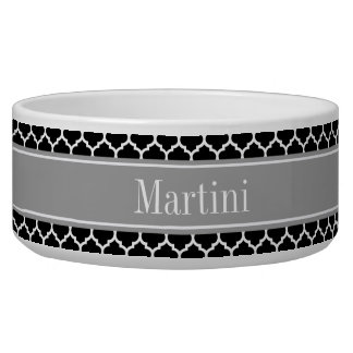 Black White Moroccan #5 Dark Gray Name Monogram Bowl