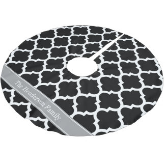 Black White Moroccan #5 Dark Gray Name Monogram Brushed Polyester Tree Skirt