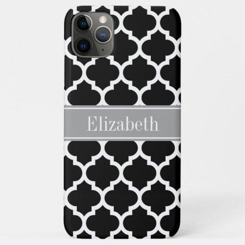 Black White Moroccan #5 Dark Gray Name Monogram Phone Case