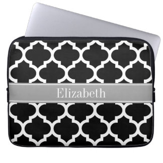 Black White Moroccan #5 Dark Gray Name Monogram Laptop Sleeve