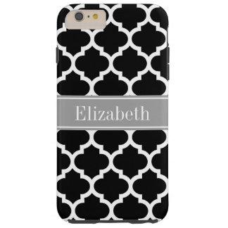 Black White Moroccan #5 Dark Gray Name Monogram Tough iPhone 6 Plus Case