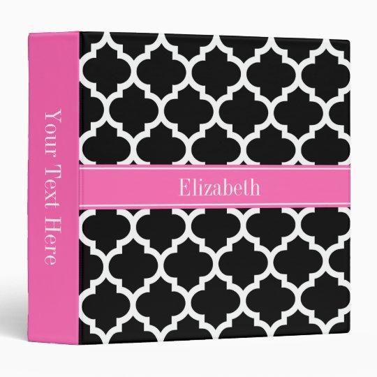 Black White Moroccan #5 Hot Pink #2 Name Monogram 3 Ring