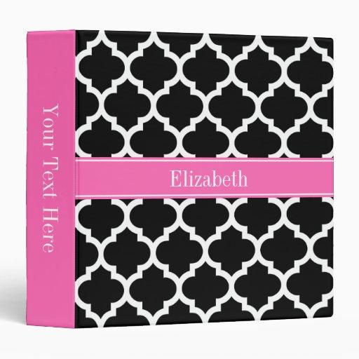 Black White Moroccan #5 Hot Pink #2 Name Monogram Binders