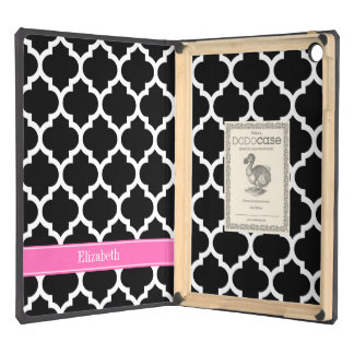 Black White Moroccan #5 Hot Pink #2 Name Monogram Case For iPad Air