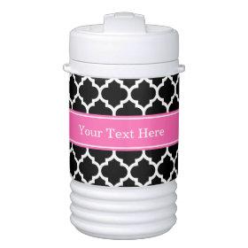 Black White Moroccan #5 Hot Pink #2 Name Monogram Igloo Beverage Dispenser