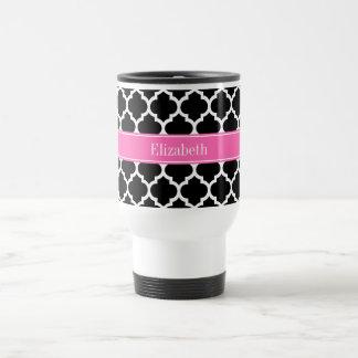 Black White Moroccan #5 Hot Pink #2 Name Monogram 15 Oz Stainless Steel Travel Mug